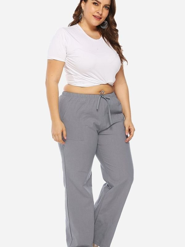 Plus Size Gray Elasticated Waist Pajama Trousers - Gray XL