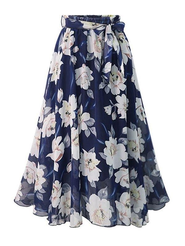 Chiffon Floral Print Elasticated Waist Skirt - Navy Blue 2XL