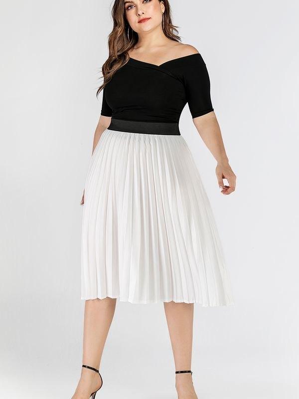White Elasticated Waist Pleated Midi Skirt - White L