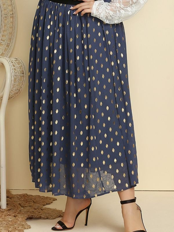 Plus Size Navy Chiffon Gold Polka Dot Long Skirt - Navy Blue 4XL