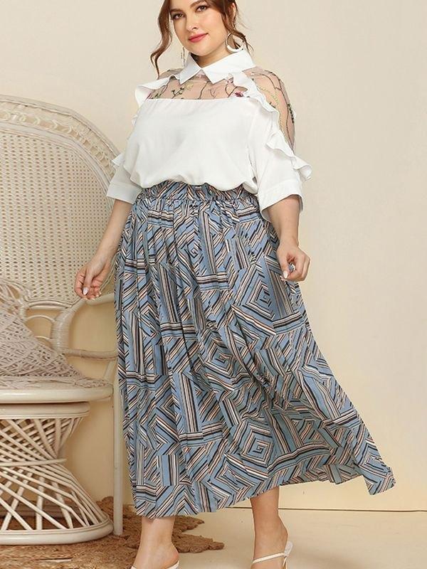 Plus Size Geometric Pleated Elasticated Skirt - Light Blue 4XL