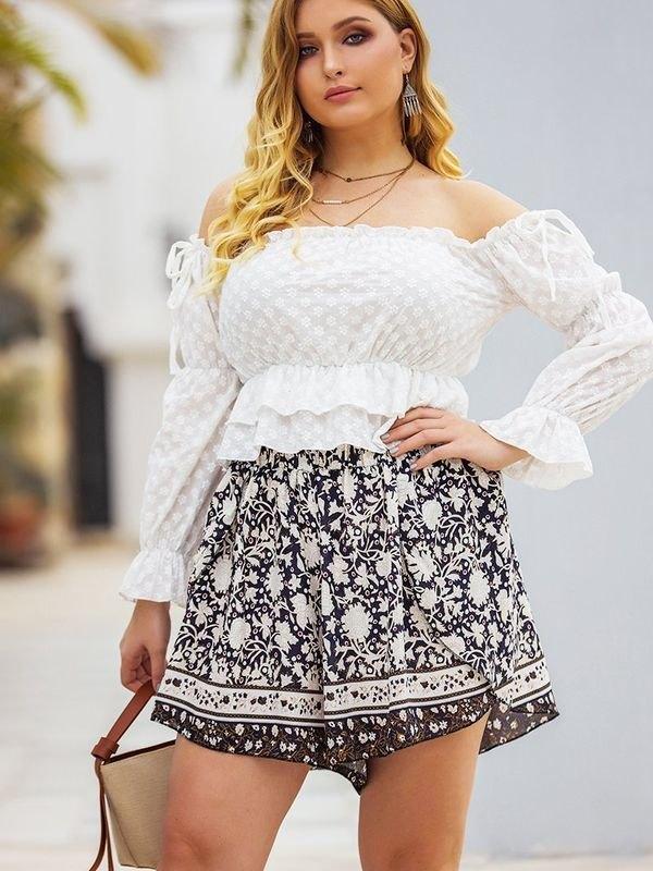 Boho Floral Elasticated Layered Shorts - White 2XL
