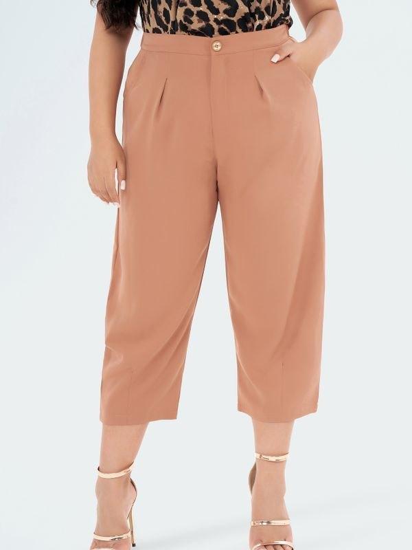 Tapered-leg Pleat Tailored Trousers - Khaki 3XL