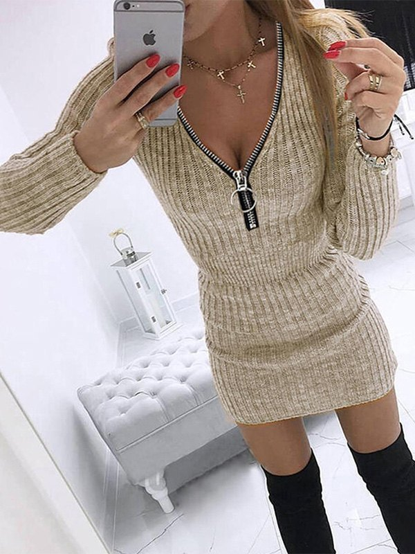Abito in maglia a maniche lunghe con zip - Cammello L