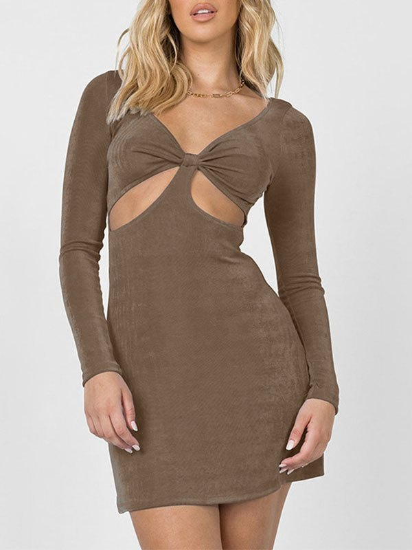 V Neck Cutout Long Sleeve Mini Dress - Camel M