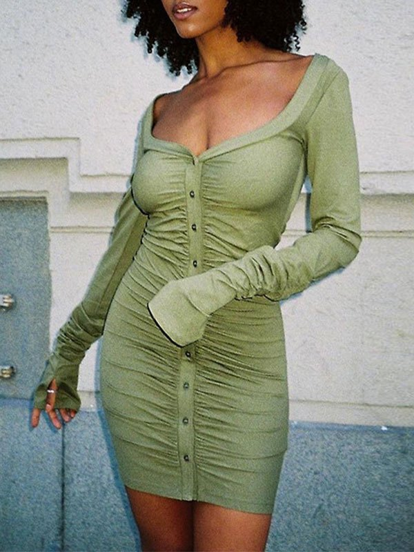 Button Ruched Long Sleeve Mini Dress - Green M