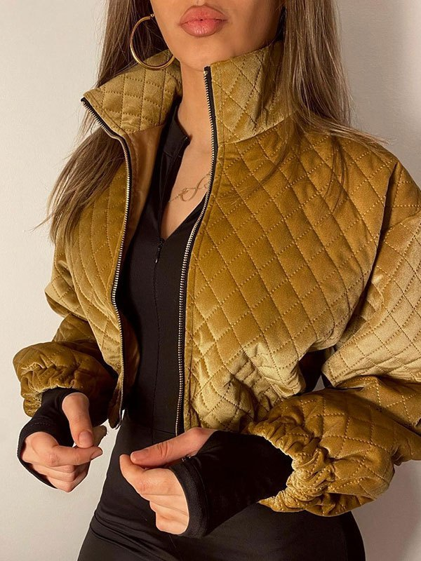 Quilted Crop Padded Jacket - Golden L