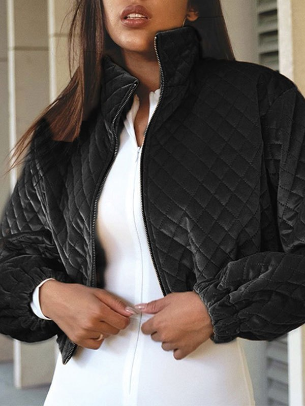 Quilted Crop Padded Jacket - Black L