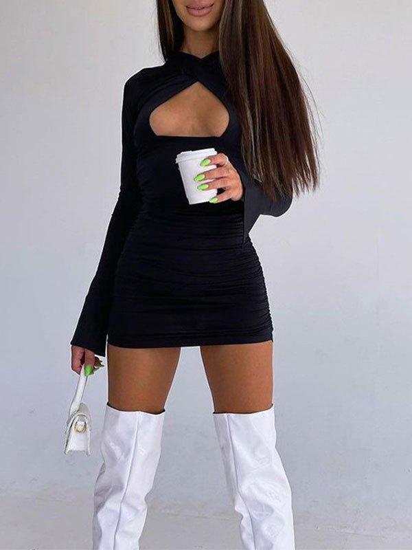 Criss Cross Cutout Long Sleeve Mini Dress - Black S