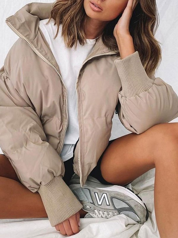 Zip Up Puffer Jacket - Apricot S