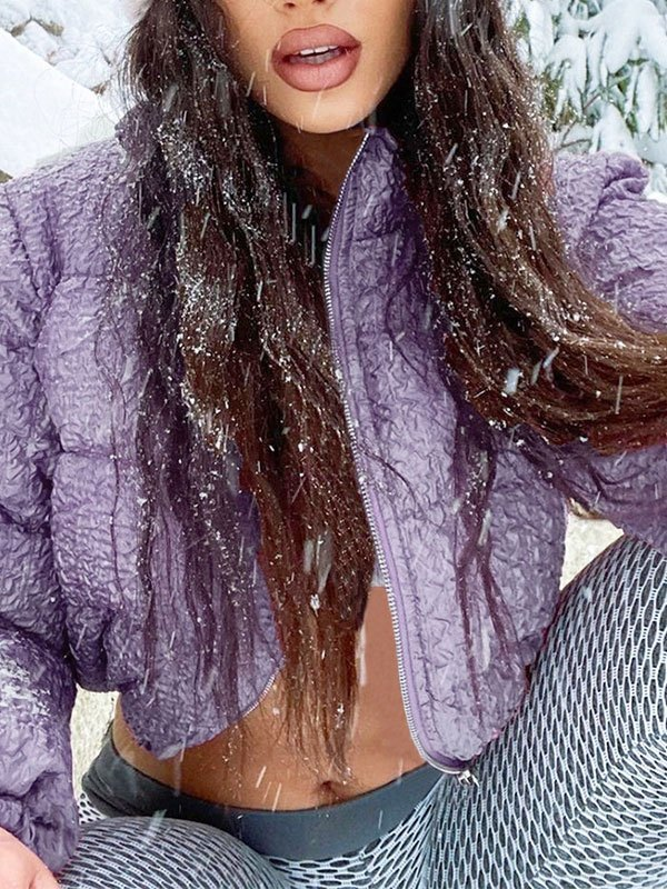 Cropped Crepe Puffer Jacket - Purple L