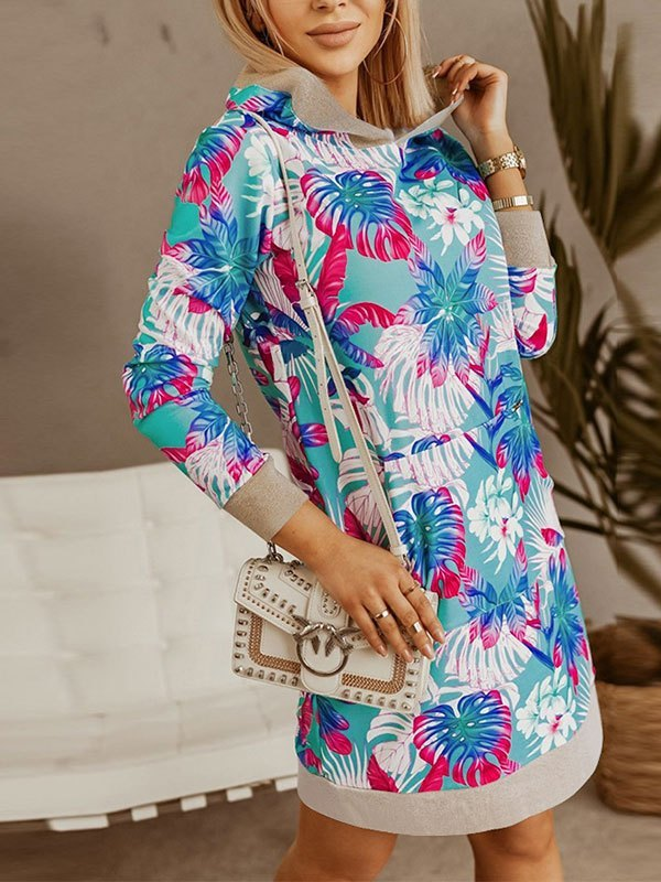 Long Sleeve Hooded Mini Dress - Blue M