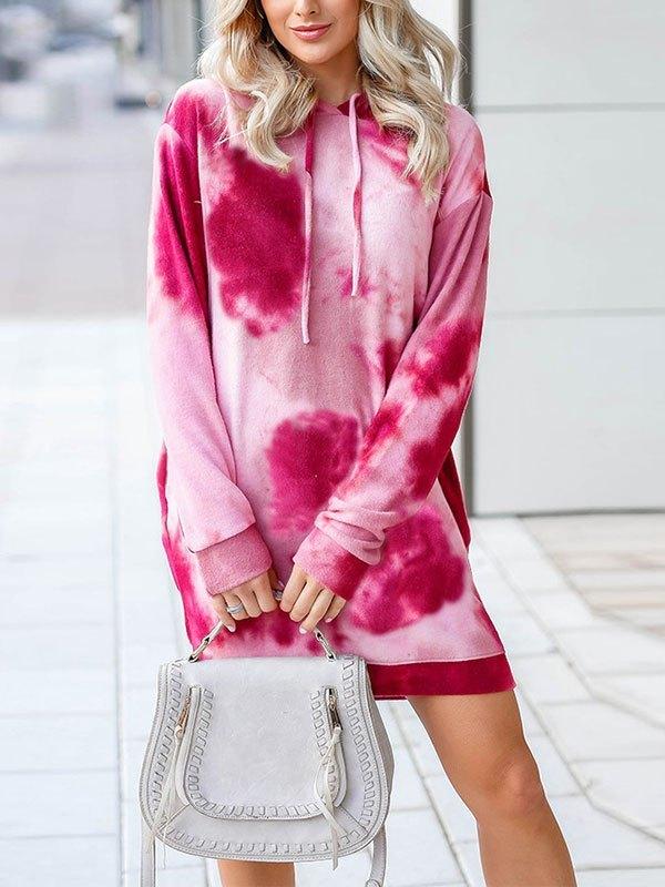 Tie Dye Hooded Long Sleeve Mini Dress - Pink S