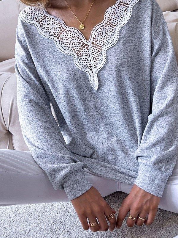 V Neck Lace Paneled Lounge Top - Gray M