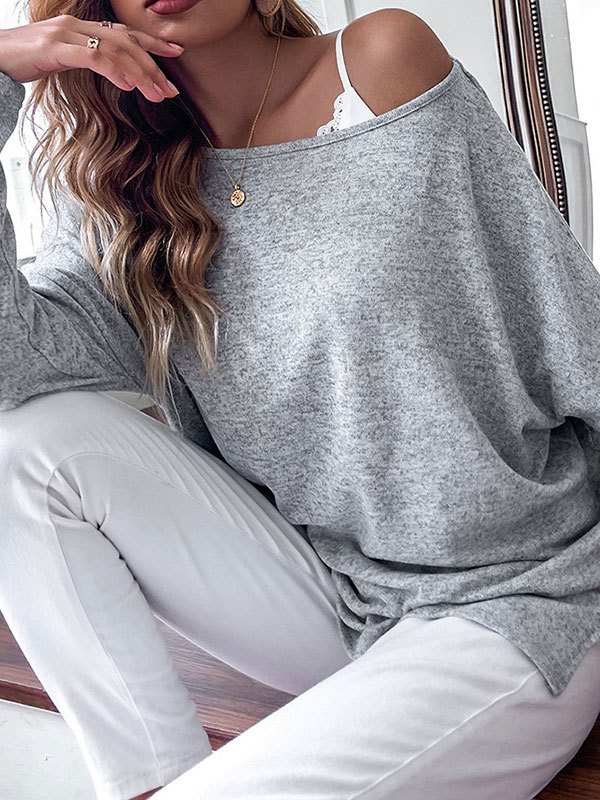Oversized Long Sleeve Lounge Top - Gray M