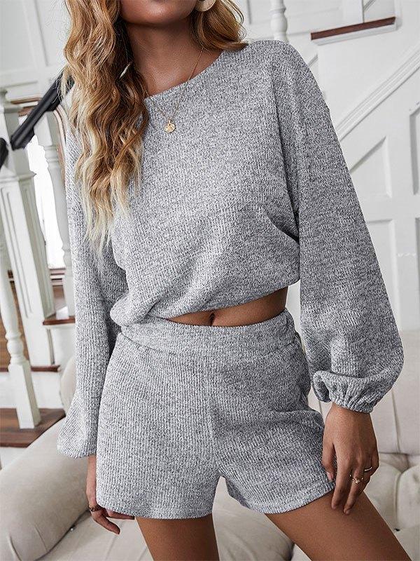 Backless Long Sleeve Lounge Set - Gray S