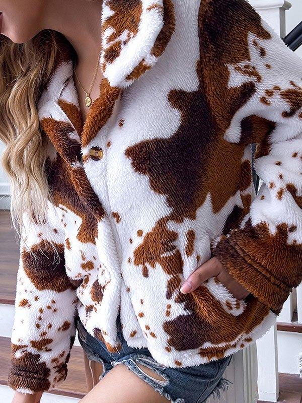 Animal Pattern Fleece Jacket - Brown M