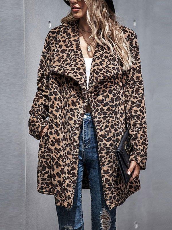 Leopard Longline Faux Fur Coat - Brown L