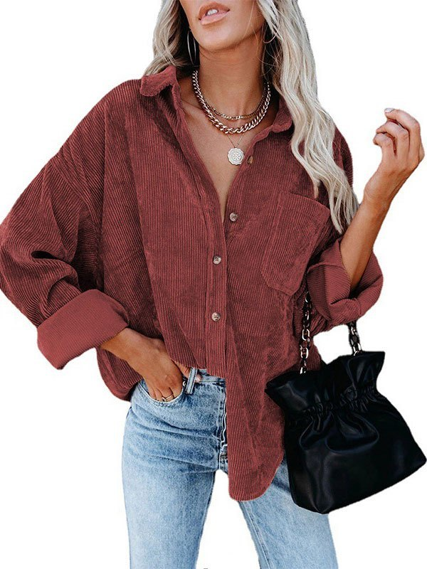 Oversized Corduroy Shirt Jacket - Red M