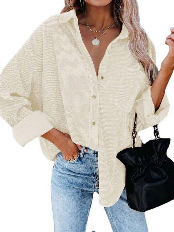 Oversized Corduroy Shirt Jacket - White XL