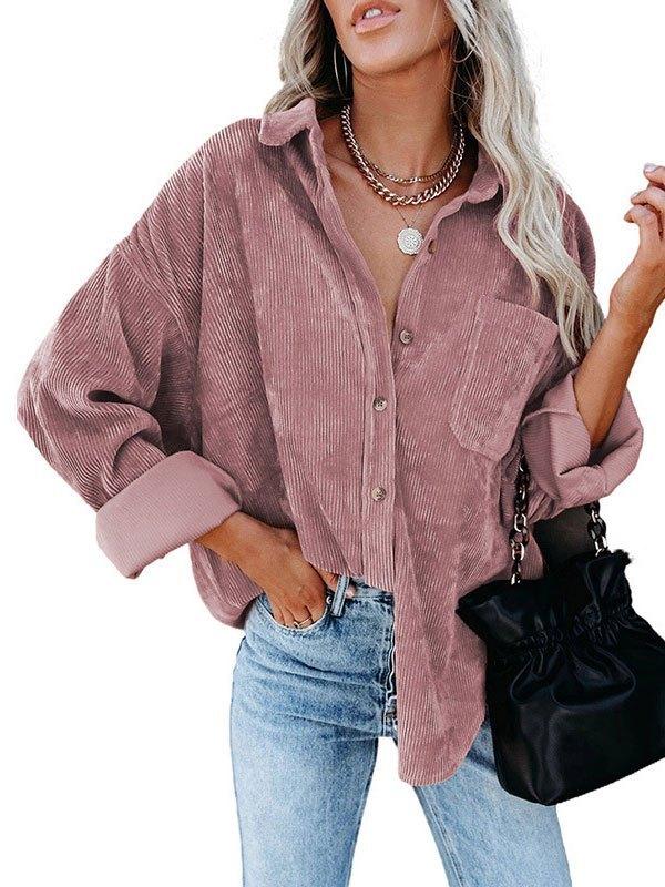 Oversized Corduroy Shirt Jacket - Pink L