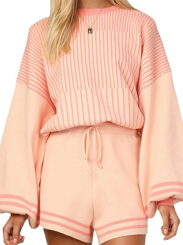 Knitted Long Sleeve Stripe Lounge Set - Orange M