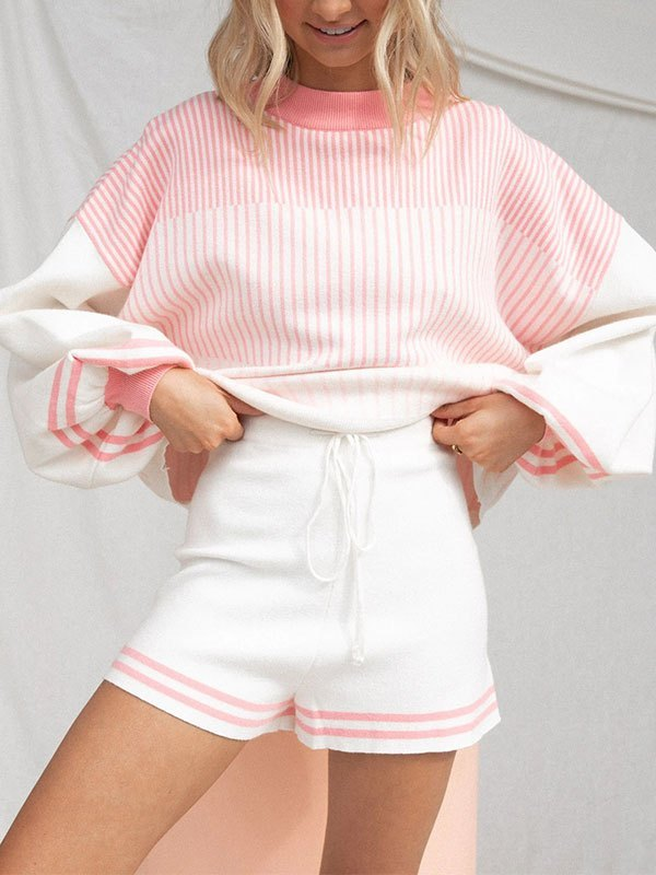 Knitted Long Sleeve Stripe Lounge Set - Pink L