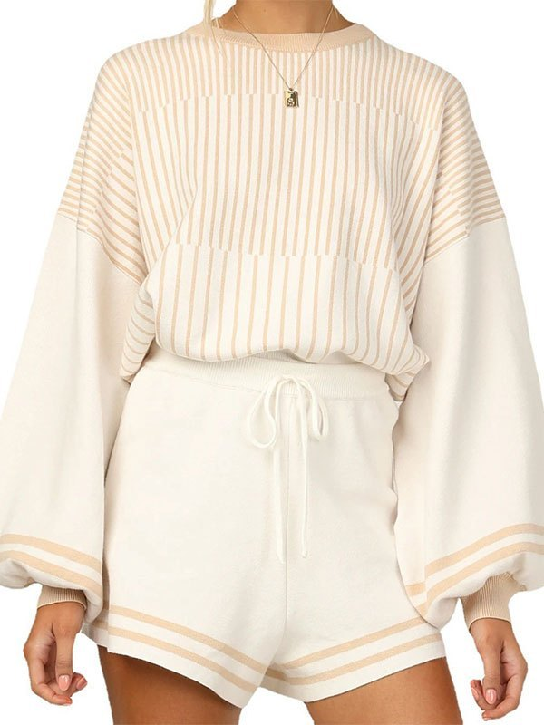 Knitted Long Sleeve Stripe Lounge Set - Apricot M