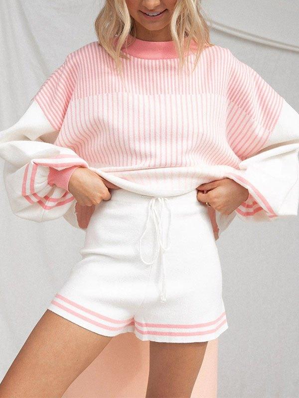 Knitted Long Sleeve Stripe Lounge Set - Pink XL