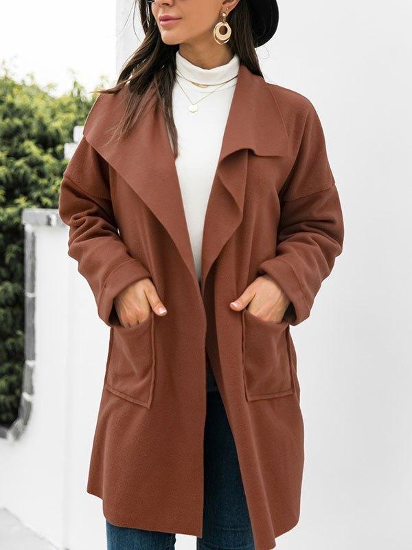 Open Front Drapey Woolen Coat - Brown S