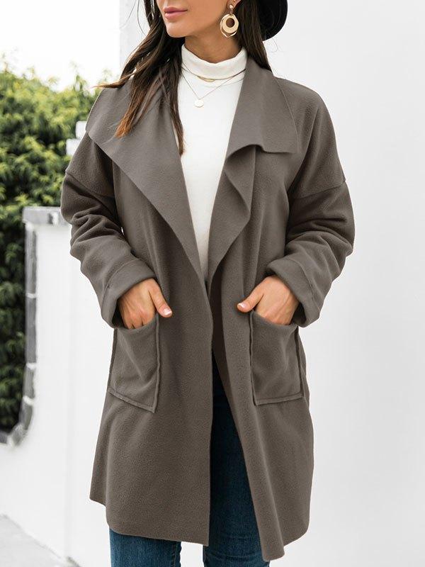 Open Front Drapey Woolen Coat - Green L