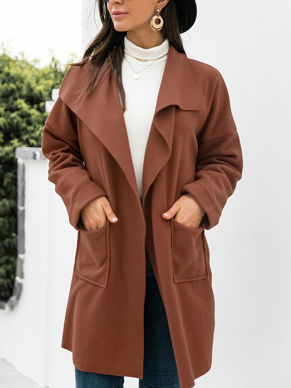 Open Front Drapey Woolen Coat - Brown L