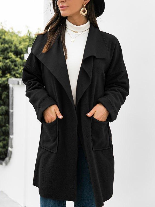 Open Front Drapey Woolen Coat - Black L