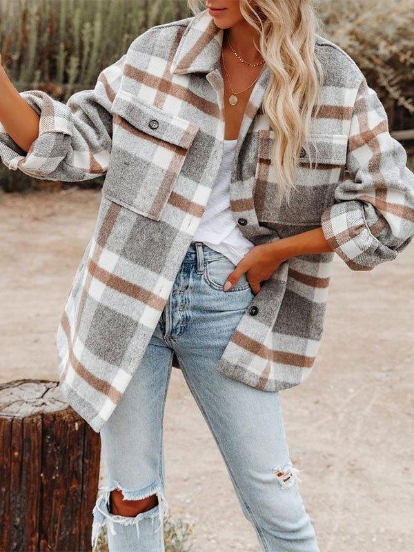 Checkered Button Woolen Coat - Gray L