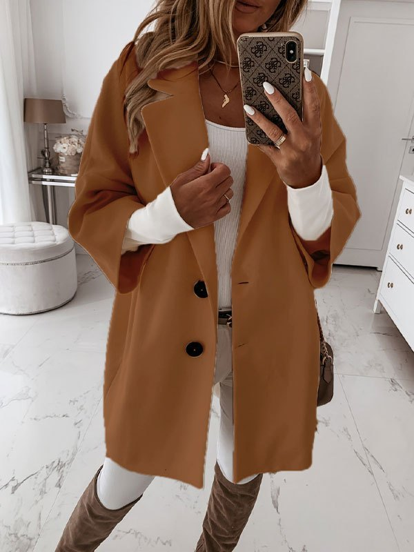 Button Front Longline Woolen Coat - Brown S