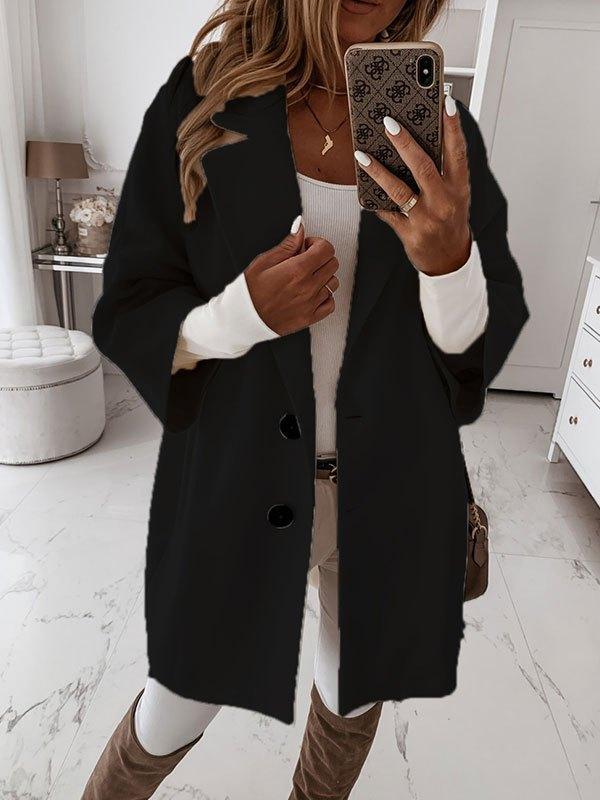 Button Front Longline Woolen Coat - Black L