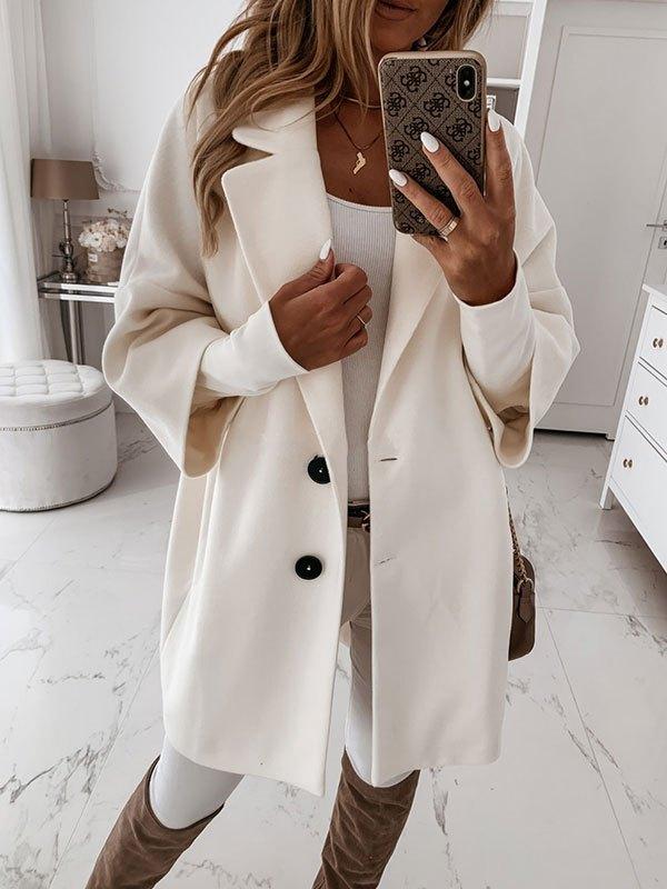 Button Front Longline Woolen Coat - White XL