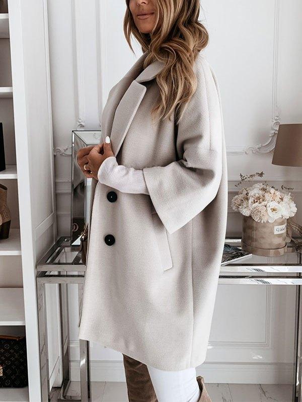 Button Front Longline Woolen Coat - Gray L