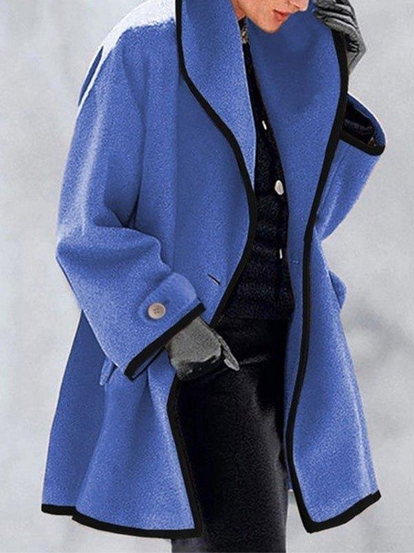 Button Front Hooded Woolen Coat - Blue L