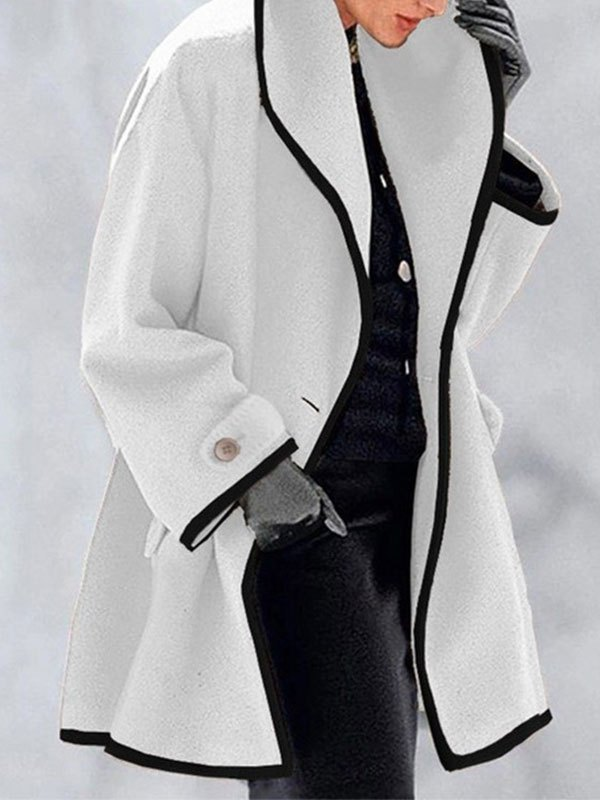 Button Front Hooded Woolen Coat - White S
