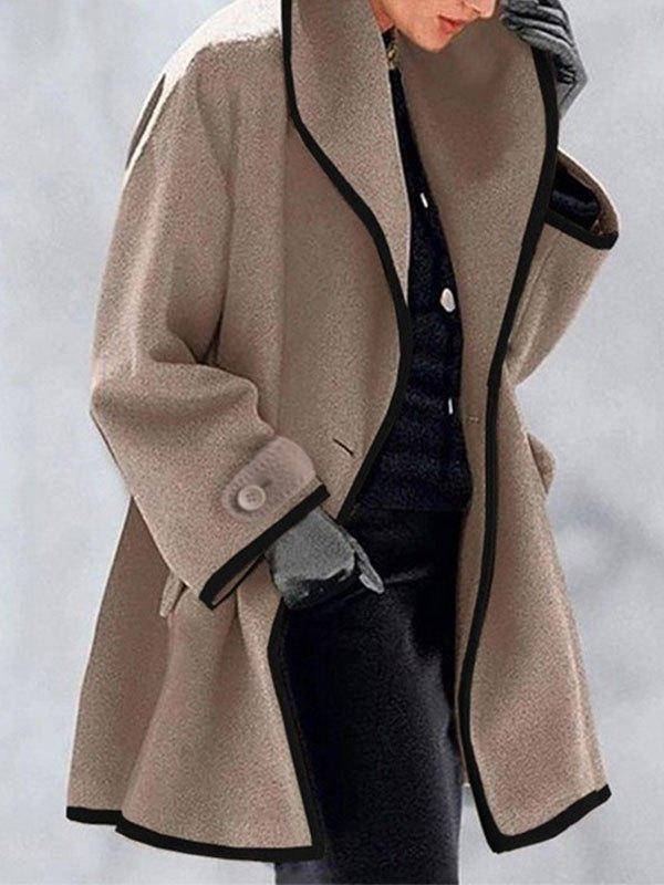 Button Front Hooded Woolen Coat - Brown S