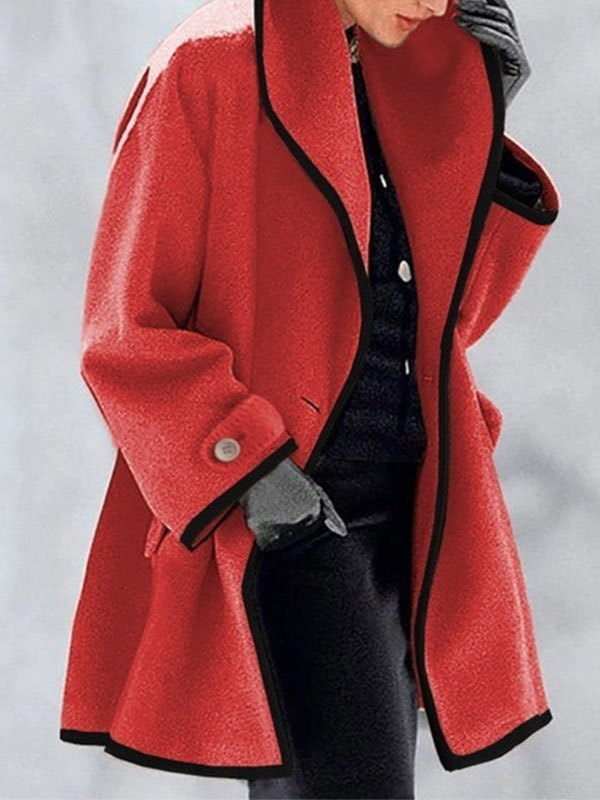 Button Front Hooded Woolen Coat - Red M