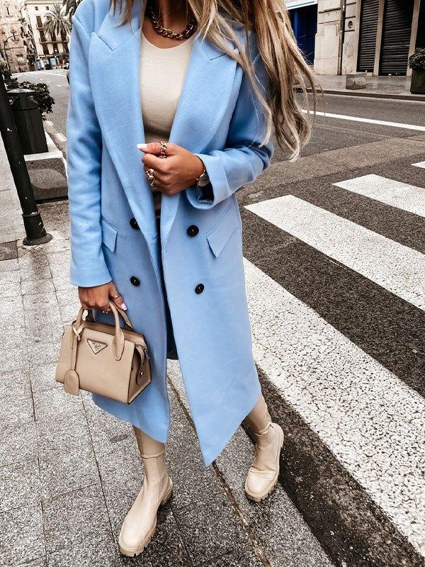 Double Breasted Maxi Woolen Coat - Blue L