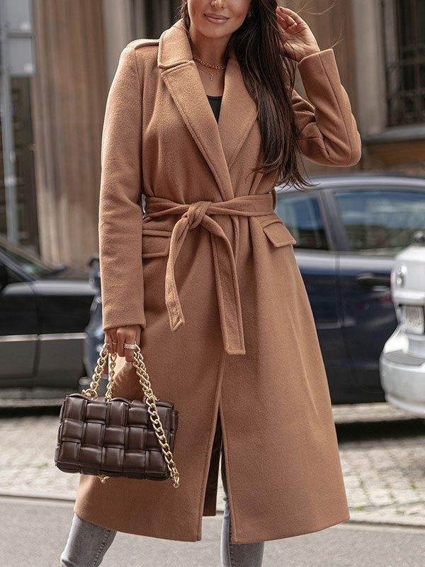 Belted Maxi Woolen Coat - Brown L
