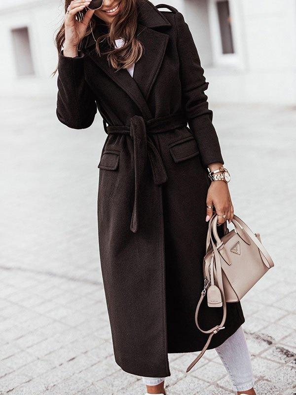 Belted Maxi Woolen Coat - Black L