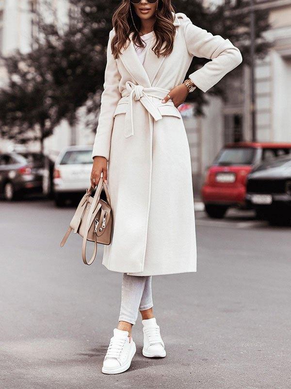 Belted Maxi Woolen Coat - White XL
