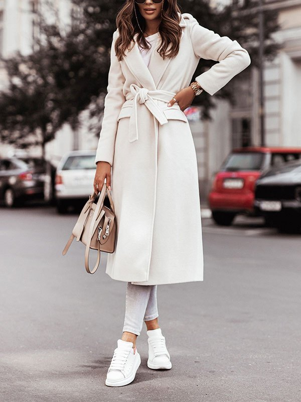 Belted Maxi Woolen Coat - White S