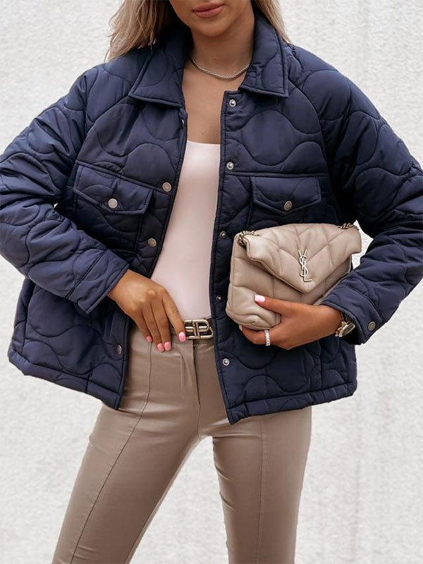 Button Long Sleeve Padded Jacket - Blue L