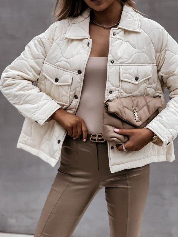 Button Long Sleeve Padded Jacket - White XL