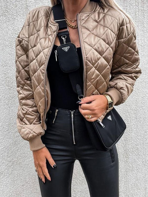 Zipper Quilted Padded Jacket - Apricot M